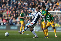 West Bromwich Albion's Stefan Johansen shields the ball from Preston North End's Sean Maguire<br /> <br /> Photographer Stephen White/CameraSport<br /> <br /> The EFL Sky Bet Championship - West Bromwich Albion v Preston North End - Saturday 13th April 2019 - The Hawthorns - West Bromwich<br /> <br /> World Copyright © 2019 CameraSport. All rights reserved. 43 Linden Ave. Countesthorpe. Leicester. England. LE8 5PG - Tel: +44 (0) 116 277 4147 - admin@camerasport.com - www.camerasport.com