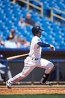Lake County Captains left fielder Sam Haggerty (4) at bat during a game against the South Bend Cubs on July 27, 2016 at Classic Park in Eastlake, Ohio.  Lake County defeated South Bend 5-4.  (Mike Janes/Four Seam Images)