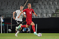 2nd June 2021, Tivoli Stadion, Innsbruck, Austria; International football friendly, Germany versus Denmark;  Christian Eriksen Denmark, breaks away from Lukas Klostermann Germany