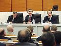 France 2002.Conférence de l' opposition kurde irakienne à Paris.J.Talabani, K.Nezar et M.barzani..France 2002.Kurdish Iraki Opposition Conference in Paris.J.Talabani, K.Nezar and M.barzani