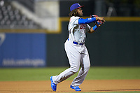 Buffalo Bison third baseman Vladimir Guerrero Jr. (47) makes a throw to first base against the Charlotte Knights at BB&T BallPark on August 14, 2018 in Charlotte, North Carolina. The Bison defeated the Knights 14-5.  (Brian Westerholt/Four Seam Images)