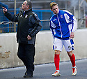 Cowdenbeath's Greg Stewart goes off with an injured hamstring after just a fews minutes.