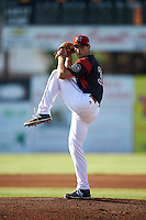 Batavia Muckdogs starting pitcher Sam Perez (38) during a game against the West Virginia Black Bears on June 29, 2016 at Dwyer Stadium in Batavia, New York.  West Virginia defeated Batavia 9-4.  (Mike Janes/Four Seam Images)
