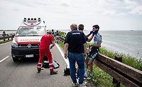 The 15th stage came to an abrupt halt after just a few minutes (3km) of racing following a large crash that forced the race to temporarily be neutralized as medical assistence was temporarily stretched to the max. <br /> 6th in the GC, Emanuel Buchmann (DEU/BORA - hansgrohe) was among the victims and needed to abandon the race.<br /> <br /> 104th Giro d'Italia 2021 (2.UWT)<br /> Stage 15 from Grado to Gorizia (147km)<br /> <br /> ©kramon