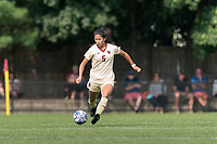 NEWTON, MA - SEPTEMBER 12: Sonia Walk #5 of Boston College passes the ball during a game between Holy Cross and Boston College at Newton Campus Soccer Field on September 12, 2021 in Newton, Massachusetts.