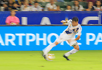 CARSON, CA - SEPTEMBER 21: Joe Corona #14 of the Los Angeles Galaxy puts the breaks on during a game between Montreal Impact and Los Angeles Galaxy at Dignity Health Sports Park on September 21, 2019 in Carson, California.
