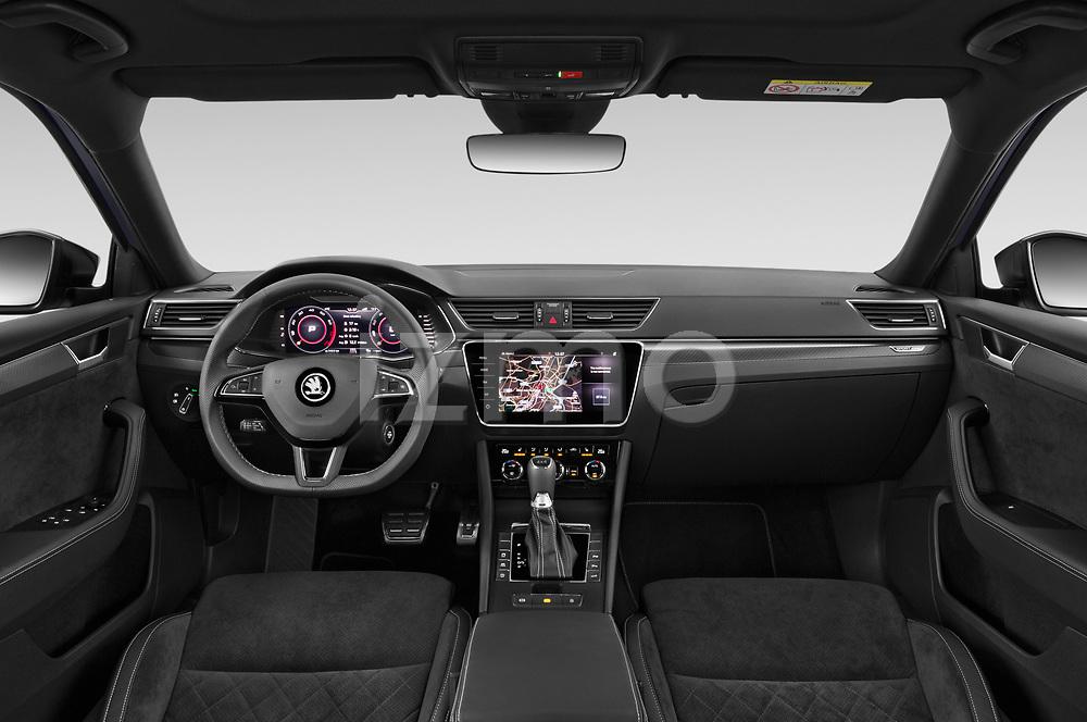 Stock photo of straight dashboard view of 2020 Skoda Superb-Combi Sportline-4wd 5 Door Wagon Dashboard