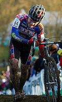 29 NOV 2014 - MILTON KEYNES, GBR - Timothy O'Regan (IRL) from Ireland pushes his bike up a climb during the men's 2014-2015 UCI Cyclo-Cross World Cup round at Campbell Park in Milton Keynes, Great Britain (PHOTO COPYRIGHT © 2014 NIGEL FARROW, ALL RIGHTS RESERVED)