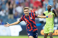 KANSAS CITY, KS - JULY 11: Sam Vines #3 of the United States scores a goal and celebrates during a game between Haiti and USMNT at Children's Mercy Park on July 11, 2021 in Kansas City, Kansas.