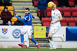 St Johnstone v Livingston…..07.03.20   McDiarmid Park  SPFL<br />Drey Wright fires the ball across for Callum Hendry's goal<br />Picture by Graeme Hart.<br />Copyright Perthshire Picture Agency<br />Tel: 01738 623350  Mobile: 07990 594431