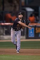 Modesto Nuts third baseman Joe Rizzo (20) makes a throw to first base during a California League game against the San Jose Giants at San Jose Municipal Stadium on May 15, 2018 in San Jose, California. Modesto defeated San Jose 7-5. (Zachary Lucy/Four Seam Images)