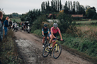 2nd October 2021, Paris–Roubaix Cycling tour; The first ever women's edition of Paris Roubaix which is famous for its uneven cobblestone course. A competitor slips and start to go down on the cobbles