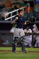 Vermont Lake Monsters catcher Jose Rivas (18) during a NY-Penn League game against the Aberdeen IronBirds on August 19, 2019 at Leidos Field at Ripken Stadium in Aberdeen, Maryland.  Aberdeen defeated Vermont 6-2.  (Mike Janes/Four Seam Images)