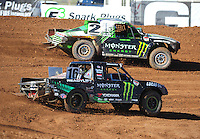 Apr 16, 2011; Surprise, AZ USA; LOORRS driver Casey Currie (2) and Cameron Steele (16) during round 3 at Speedworld Off Road Park. Mandatory Credit: Mark J. Rebilas-.