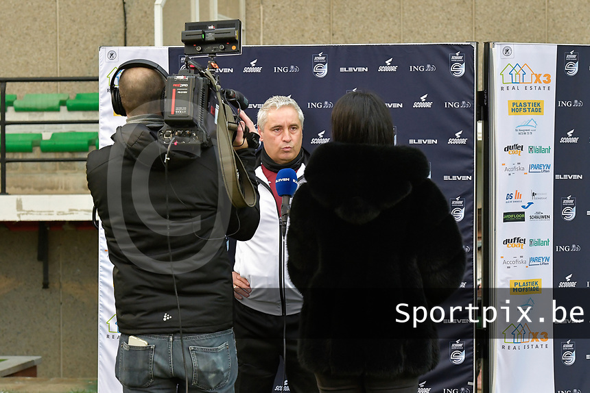 Head coach Dirk Decoen  (Aalst)  pictured during an interview with Eleven Sport before a female soccer game between Eendracht Aalst and AA Gent Ladies on the 10 th matchday of the 2020 - 2021 season of Belgian Scooore Womens Super League , Saturday 19 th of December 2020  in Aalst , Belgium . PHOTO SPORTPIX.BE | SPP | DIRK VUYLSTEKE