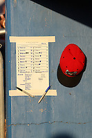 Batavia Muckdogs lineup card and hat during a game vs. the Auburn Doubledays at Dwyer Stadium in Batavia, New York July 2, 2010.   Batavia defeated Auburn 6-3.  Photo By Mike Janes/Four Seam Images