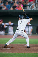Idaho Falls Chukars center fielder Andres Martin (1) at bat during a Pioneer League game against the Great Falls Voyagers at Melaleuca Field on August 18, 2018 in Idaho Falls, Idaho. The Idaho Falls Chukars defeated the Great Falls Voyagers by a score of 6-5. (Zachary Lucy/Four Seam Images)