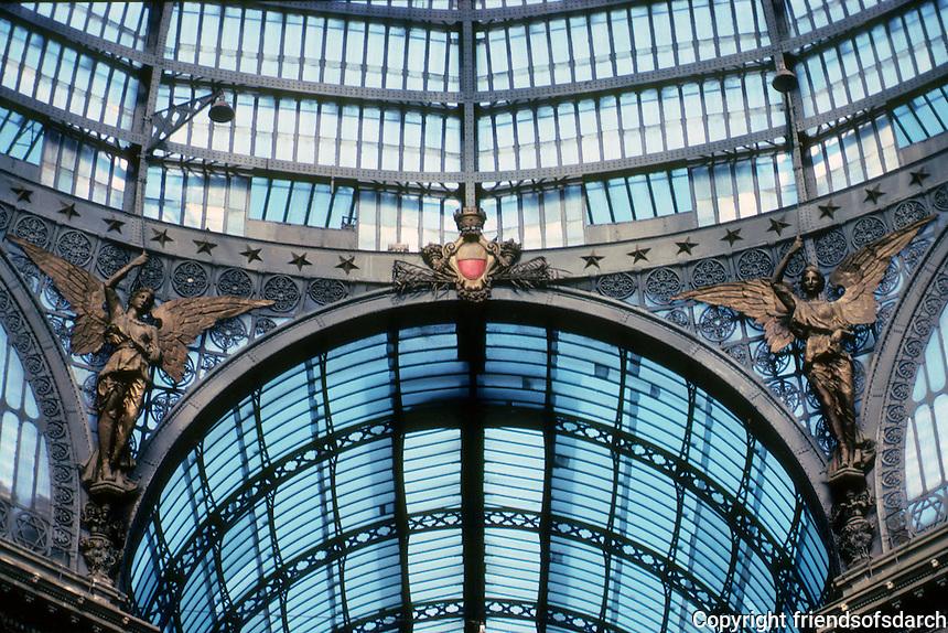 Italy: Naples--Galleria Umberto I. Detail of ceiling. Photo '83.