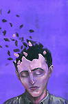 Illustrative image of man with scattered head representing Alzheimer's disease