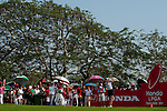 CHON BURI, THAILAND - FEBRUARY 19:  Paula Creamer of USA tees off on the 18th hole during day three of the LPGA Thailand at Siam Country Club on February 19, 2011 in Chon Buri, Thailand. Photo by Victor Fraile / The Power of Sport Images