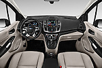 Stock photo of straight dashboard view of 2018 Ford Transit Connect Titanium 5 Door Mini Mpv Dashboard