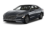 2020 Hyundai Sonata-Hybrid Limited 4 Door Sedan Angular Front automotive stock photos of front three quarter view