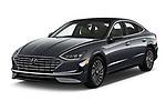 2020 Hyundai Sonata-Hybrid Limited 4 Door Sedan Angular Front automotive stock photos of front three quarter view
