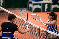 9th October 2020, Roland Garros, Paris, France; French Open tennis, Roland Garr2020;  Ladies singles wheelchair final,  as Momoko Othani jpn touches raquets with Yui Kamiji jpn