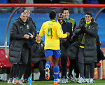 Juan celebrates after scoring with his team mates during the 2010 FIFA World Cup South Africa Round of Sixteen match between Brazil and Chile at Ellis Park Stadium on June 28, 2010 in Johannesburg, South Africa.