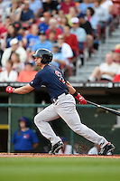 Pawtucket Red Sox third baseman Garin Cecchini (3) at bat during a game against the Buffalo Bisons on August 23, 2014 at Coca-Cola Field in Buffalo, New  York.  Buffalo defeated Pawtucket 15-2.  (Mike Janes/Four Seam Images)