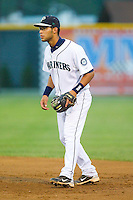 Second baseman Jorge Agudelo #7 of the Pulaski Mariners on defense against the Greeneville Astros at Calfee Park August 29, 2010, in Pulaski, Virginia.  Photo by Brian Westerholt / Four Seam Images