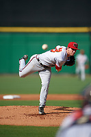 Florida Fire Frogs relief pitcher Connor Johnstone (23) delivers a pitch during a game against the Clearwater Threshers on June 1, 2018 at Spectrum Field in Clearwater, Florida.  Clearwater defeated Florida 2-0 in a game that was started on May 19th but called in the fifth inning due to weather.  (Mike Janes/Four Seam Images)
