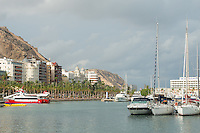 Spain, Alicante, a beach town and historic Mediterranean port and harbor.