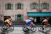 Yellow Jersey Giulio Ciccone (ITA/Trek Segafredo) in the peloton rolling through town. <br /> <br /> Stage 7: Belfort to Chalon-sur-Saône (230km)<br /> 106th Tour de France 2019 (2.UWT)<br /> <br /> ©kramon