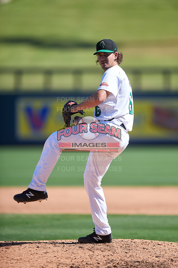 Surprise Saguaros relief pitcher Dean Kremer (6), of the Baltimore Orioles organization, during the Arizona Fall League Championship Game against the Salt River Rafters on October 26, 2019 at Salt River Fields at Talking Stick in Scottsdale, Arizona. The Rafters defeated the Saguaros 5-1. (Zachary Lucy/Four Seam Images)