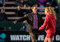 Seattle, WA - Saturday March 24, 2018: Jim Gabarra, Tori Huster during a regular season National Women's Soccer League (NWSL) match between the Seattle Reign FC and the Washington Spirit at the UW Medicine Pitch at Memorial Stadium.