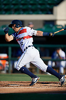 Lakeland Flying Tigers John Valente (15) bats during a Florida State League game against the Fort Myers Miracle on August 3, 2019 at Publix Field at Joker Marchant Stadium in Lakeland, Florida.  Lakeland defeated Fort Myers 4-3.  (Mike Janes/Four Seam Images)