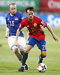 Spain's David Silva (r) and Liechtenstein's Martin Buchel during FIFA World Cup 2018 Qualifying Round match. September 5,2016.(ALTERPHOTOS/Acero)