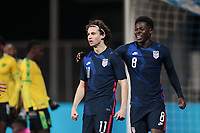 WIENER NEUSTADT, AUSTRIA - MARCH 25: Brenden Aaronson #11 of the United States celebrates scoring with Yunus Musah #8 during a game between Jamaica and USMNT at Stadion Wiener Neustadt on March 25, 2021 in Wiener Neustadt, Austria.