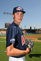 August 9 2008: Matthew Purke participates in the Aflac All American baseball game for incoming high school seniors at Dodger Stadium in Los Angeles,CA.  Photo by Larry Goren/Four Seam Images