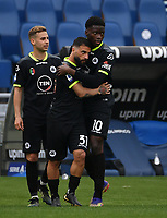 Football, Serie A: S.S. Lazio - Spezia, Olympic stadium, Rome, April 3, 2021. <br /> Spezia's Daniele Verde (c) celebrates after scoring with his teammates  during the Italian Serie A football match between S.S. Lazio and Spezia at Rome's Olympic stadium, Rome, on April 3, 2021.  <br /> UPDATE IMAGES PRESS/Isabella Bonotto