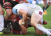 26th March 2021; Kingsholm Stadium, Gloucester, Gloucestershire, England; English Premiership Rugby, Gloucester versus Exeter Chiefs; Harvey Skinner of Exeter Chiefs holds the ball up over the try line to prevent Henry Walker of Gloucester scoring his third try