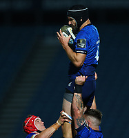 2nd October 2020; RDS Arena, Dublin, Leinster, Ireland; Guinness Pro 14 Rugby, Leinster versus Dragons; Scott Fardy (Leinster) gathers a high ball