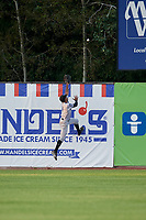 Hudson Valley Renegades outfielder Garrett Hiott (4) attempts to catch a fly ball during a NY-Penn League game against the Mahoning Valley Scrappers on July 15, 2019 at Eastwood Field in Niles, Ohio.  Mahoning Valley defeated Hudson Valley 6-5.  (Mike Janes/Four Seam Images)