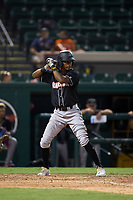 Jupiter Hammerheads Angeudis Santos (6) bats during a game against the Lakeland Flying Tigers on July 30, 2021 at Joker Marchant Stadium in Lakeland, Florida.  (Mike Janes/Four Seam Images)
