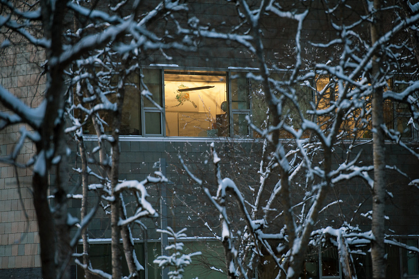 Fresh snow on trees and a map of Alaska on the wall of a classroom in UAA's ConocoPhillips Integrated Science Building.
