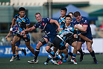 UBB Gavekal (in dark blue) plays against CRFA Gladiators (in blue and black) during GFI HKFC Rugby Tens 2016 on 06 April 2016 at Hong Kong Football Club in Hong Kong, China. Photo by Juan Manuel Serrano / Power Sport Images