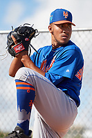 GCL Mets pitcher Simeon Woods-Richardson (44) warms up in the bullpen before a game against the GCL Cardinals on August 6, 2018 at Roger Dean Chevrolet Stadium in Jupiter, Florida.  GCL Cardinals defeated GCL Mets 6-3.  (Mike Janes/Four Seam Images)