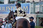 Jose Lezcano and Twilight Eclipse after winning the Mac Diarmida(G2T) at Gulfstream Park, Hallandale Beach Florida. 02-15-2014