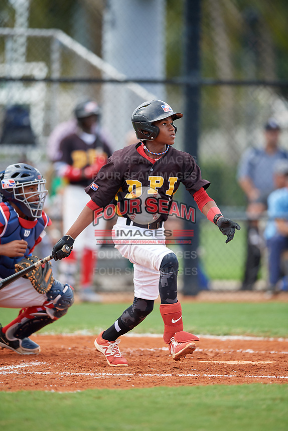 Sandy Sanchez (1) during the Dominican Prospect League Elite Florida Event at Pompano Beach Baseball Park on October 15, 2019 in Pompano beach, Florida.  (Mike Janes/Four Seam Images)